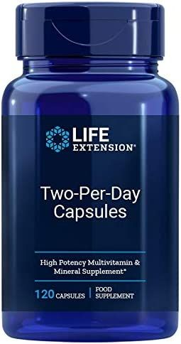 Life Extension Two-Per-Day High Potency Multi-Vitamin & Mineral Supplement - Vitamins, Minerals, Plant Extracts, Quercetin, 5-MTHF, Folate & More - Gluten-Free, Non-GMO - 120 Capsules