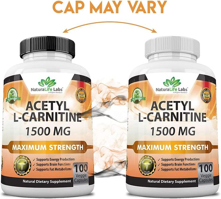 Acetyl L-Carnitine 1,500 mg High Potency Supports Natural Energy Production, Supports Memory/Focus - 100 Veggie Capsules
