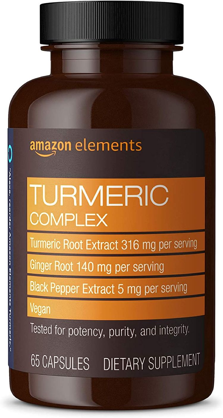 Elements Turmeric Complex, 316 mg Curcumin, 140 mg Ginger, 5 mg Black Pepper - Joint & Immune System, Healthy Inflammation Response - 65 Capsules (2 month supply)