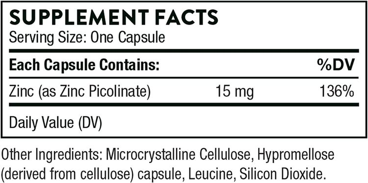 Thorne Research - Zinc Picolinate 15 mg - Highly Absorbable Zinc Supplement to Support Growth, Immune Function, and Reproductive Health - 60 Capsules