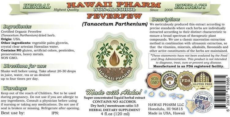Feverfew Alcohol-Free Liquid Extract, Organic Feverfew (Tanacetum parthenium) Dried Herb Glycerite Hawaii Pharm Natural Herbal Supplement 2 oz