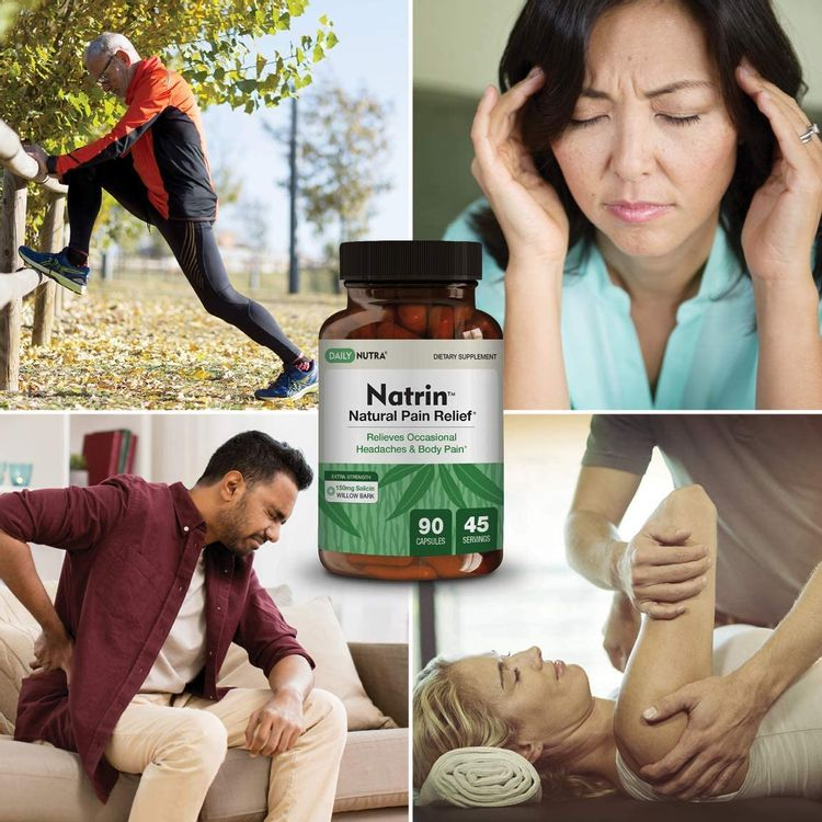 Natrin Willow Bark Formula by DailyNutra - Relieves Discomfort in The Back, Neck, Knees, and Joints | Featuring 150mg of Salicin (90 Capsules)
