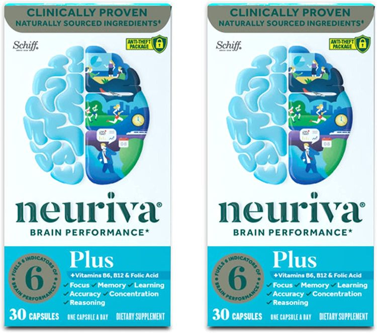 Nootropic Brain Support Supplement - NEURIVA Plus Capsules (30ct) Phosphatidylserine, B6, B12, Folic Acid - Supports Focus, Memory, Learning, Accuracy, Concentration & Reasoning (Pack of 2)