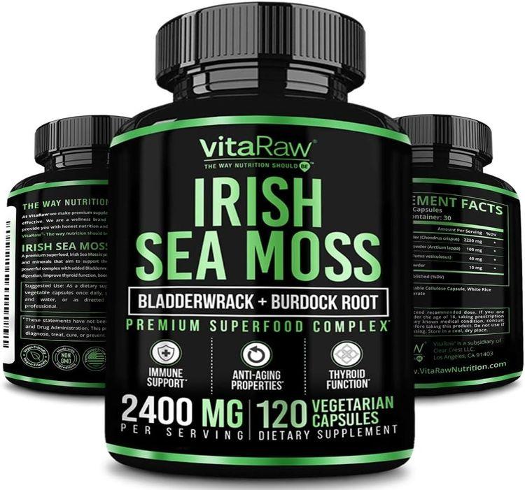 Organic Irish Sea Moss Capsules w/ Burdock Root & Bladderwrack Powder 2400mg Seamoss Pills for Immune Support, Joint & Thyroid Support & Gut Health w/ Raw Sea Moss Powder, An Irish Moss Immune Booster