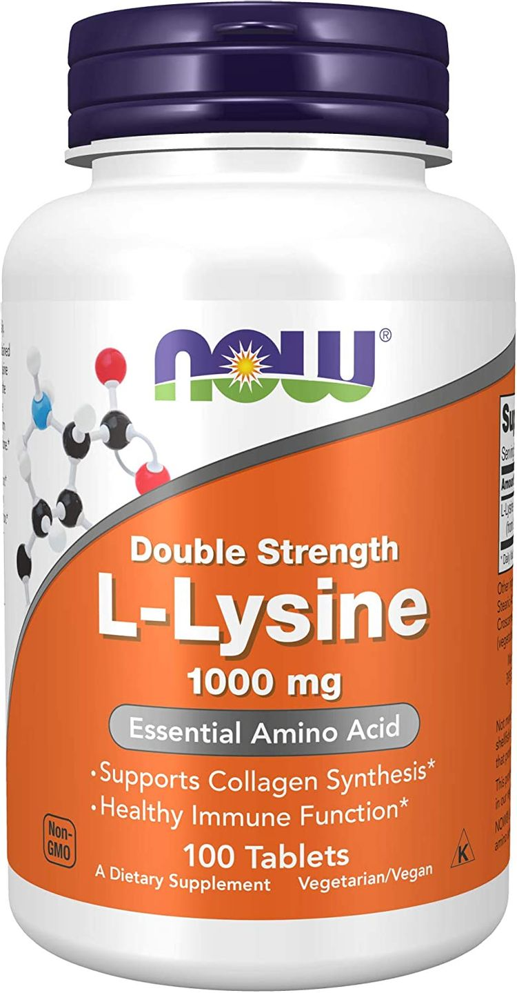 NOW Foods Supplements, L-Lysine (L-Lysine Hydrochloride) 1,000 mg, Double Strength, Amino Acid, 100 Tablets