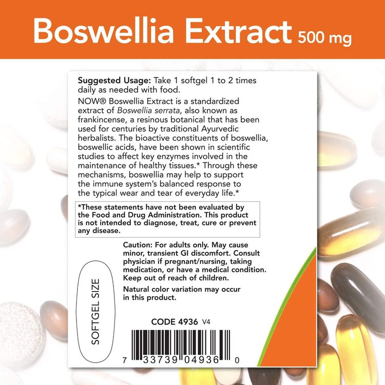NOW Supplements, Boswellia Extract 500 mg, 90 Softgels