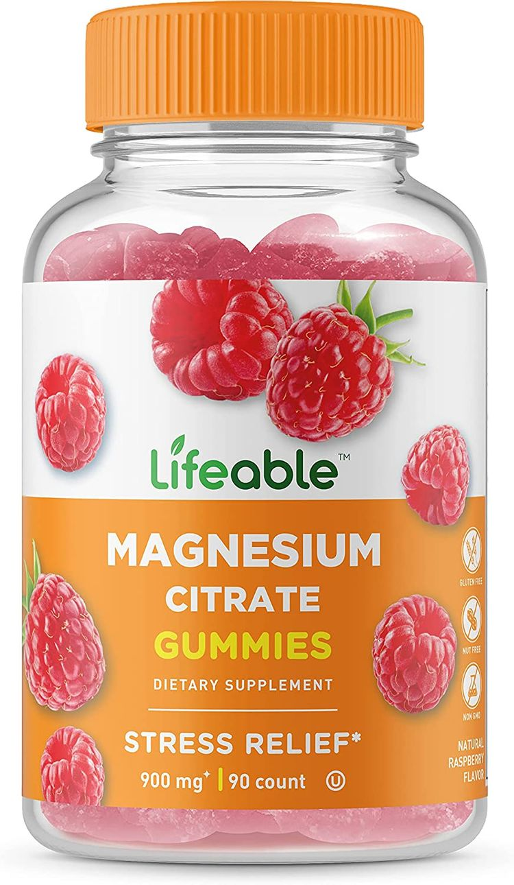 Lifeable Magnesium Citrate - Great Tasting Natural Flavor Gummy Supplement - Gluten Free Vegetarian GMO-Free Chewable, for Sleep, Anxiety, Stress Relief Support - for Adults Men Women - 90 Gummies