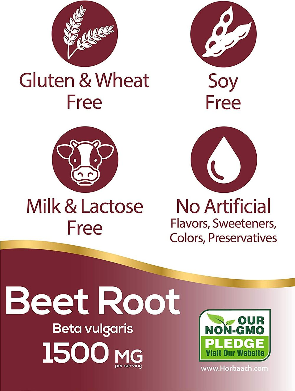 Beet Root Powder Capsules 1500mg   250 Pills   Herbal Extract   Gluten Free, Non-GMO Supplement   by Horbaach