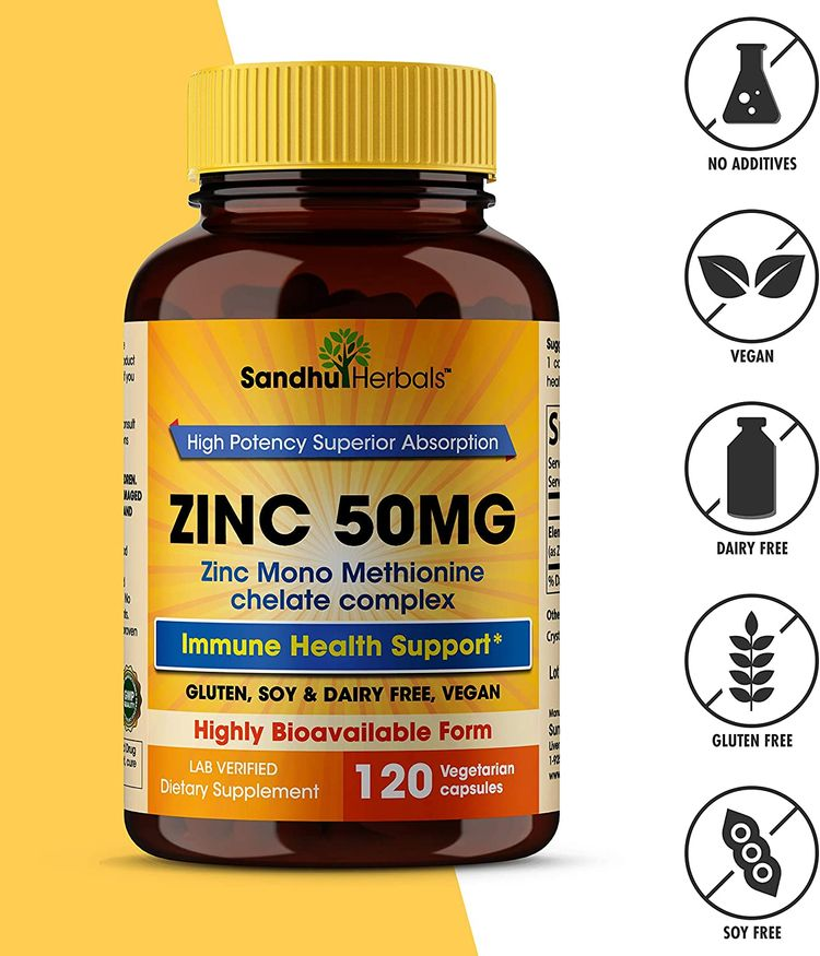 Zinc 50mg Supplement 120 Vegetarian Capsules, Zinc Highly Absorbable Supplements for Immune Support System, Gluten Free Zinc Supplement