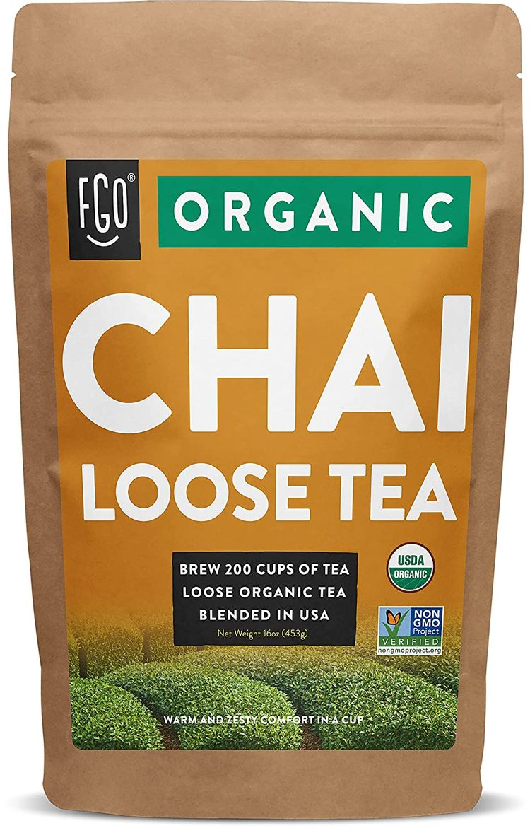 Organic Chai Loose Leaf Tea | Brew 200 Cups | Blended in USA | 16oz/453g Resealable Kraft Bag | by FGO