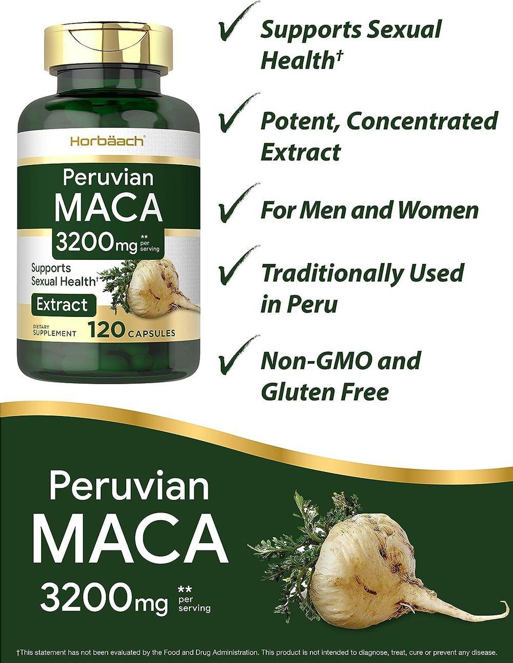 Maca Root Capsules 3200 mg   120 Pills   Peruvian Maca Extract for Men and Women   Non-GMO, Gluten Free   by Horbaach