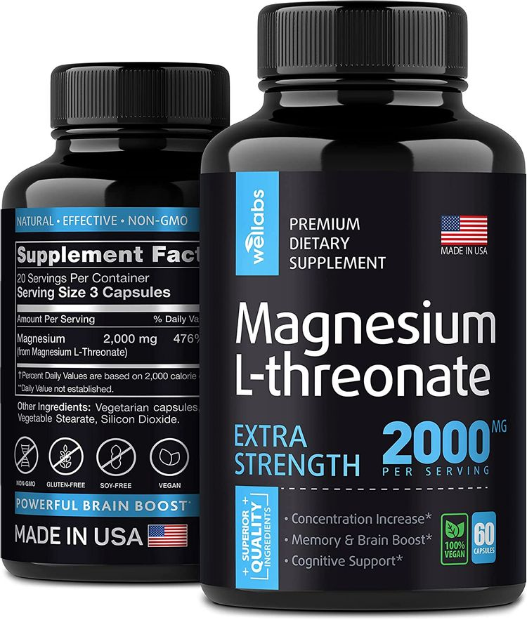 Magnesium L-threonate Supplement - Brain, Bone & Heart Support - Boosts Energy, Focus, Mood & Cognitive Function - High Absorption Vegan Formula - Made in USA - 60 Capsules