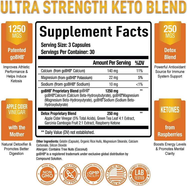 Premium Keto Pills + Apple Cider Vinegar Capsules with Mother - Utilize Fat for Energy with Ketosis, Boost Energy & Focus, Manage Cravings, Metabolism Support - Bhb Keto Diet Pills for Women, Men