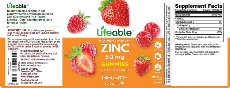 Lifeable Zinc 50mg Gummies - Great Tasting Natural Flavor Gummy Supplement - Gluten Free Vegetarian GMO-Free Chewable Vitamins – for Healthy Immune Support – for Adults, Man, Women – 90 Gummies