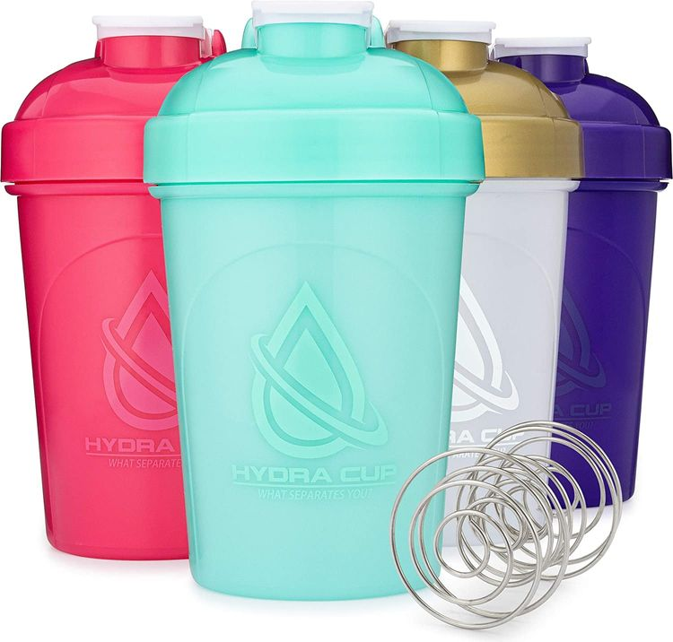 4 PACK - 20-Ounce Shaker Bottle with Wire Whisk Balls, Max Value Protein Shaker Cups, By Hydra Cup