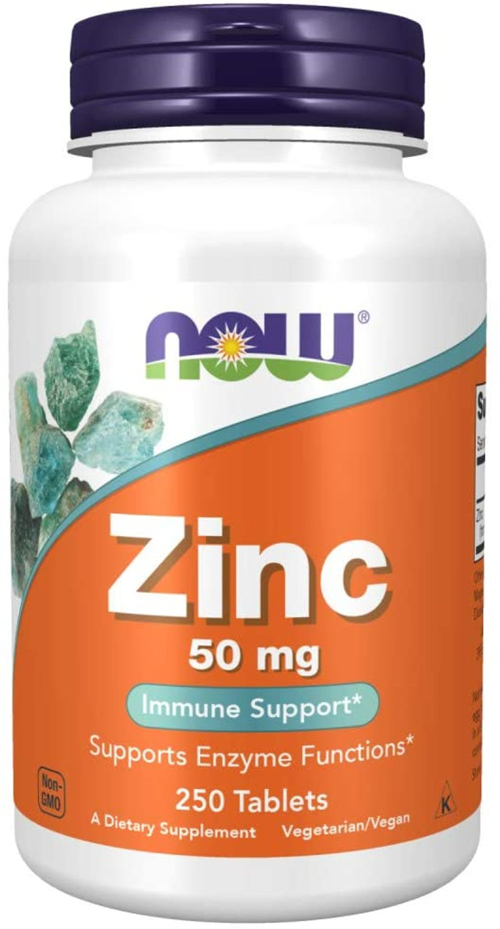 Now Foods Zinc Gluconate, White, Unflavored, 250 Count