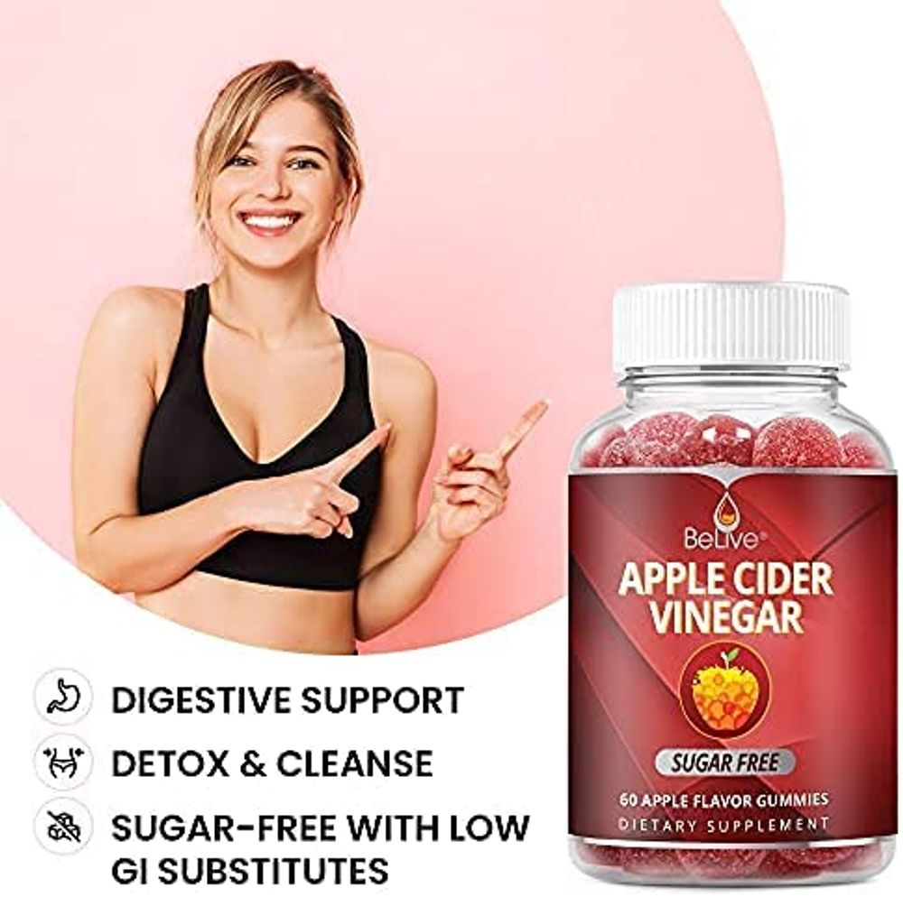 Apple Cider Vinegar Sugar Free Gummies with The Mother - Formulated for Weight Control - Gluten Free, No Glucose Syrup, ACV Gummies Alternative to Capsules & Drink (60 Ct)