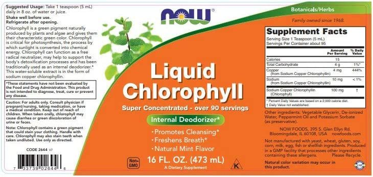 NOW Supplements, Liquid Chlorophyll, Super Concentrated, Internal Deodorizer, Mint Flavor, 16-Ounce