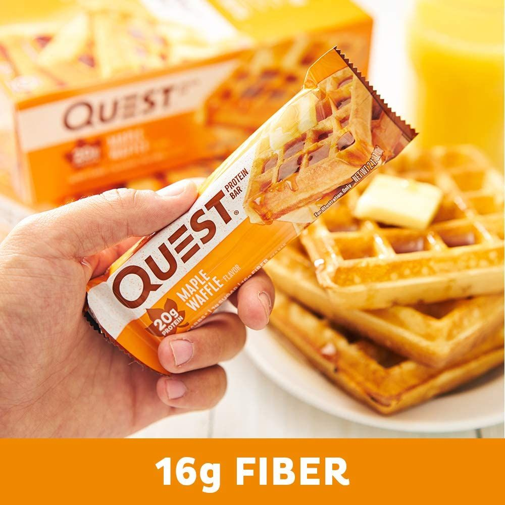 Quest Nutrition Protein Bar High Protein, Low Carb, Gluten Free, Keto Friendly, Maple Waffle 12 Count