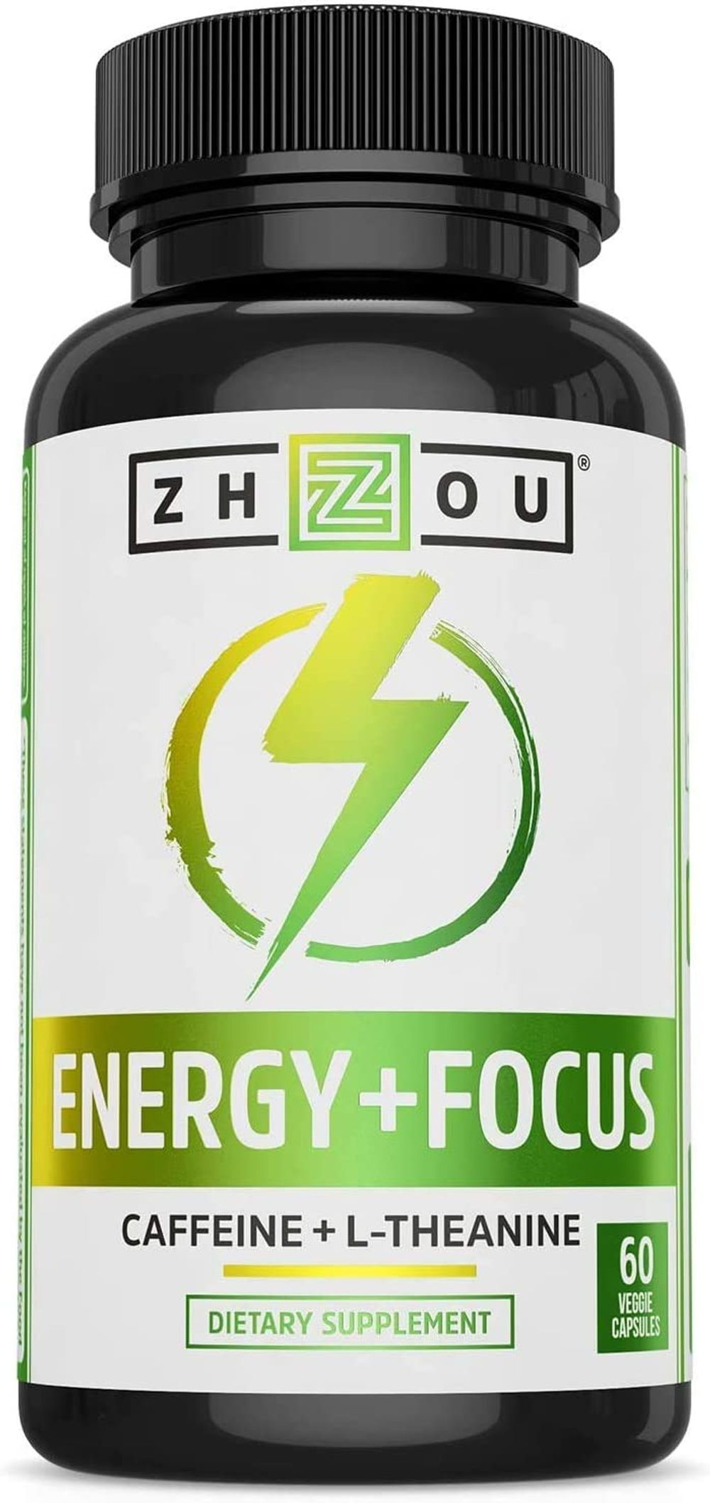 Zhou Energy + Focus   Caffeine with L-Theanine   Focused Energy for Your Mind & Body   #1 Nootropic Stack for Cognitive Performance   60 VegCaps
