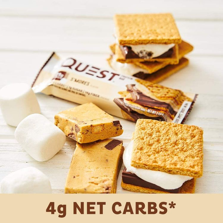 Quest Nutrition S'mores Protein Bar, High Protein, Low Carb, Gluten Free, Keto Friendly, 12 Count