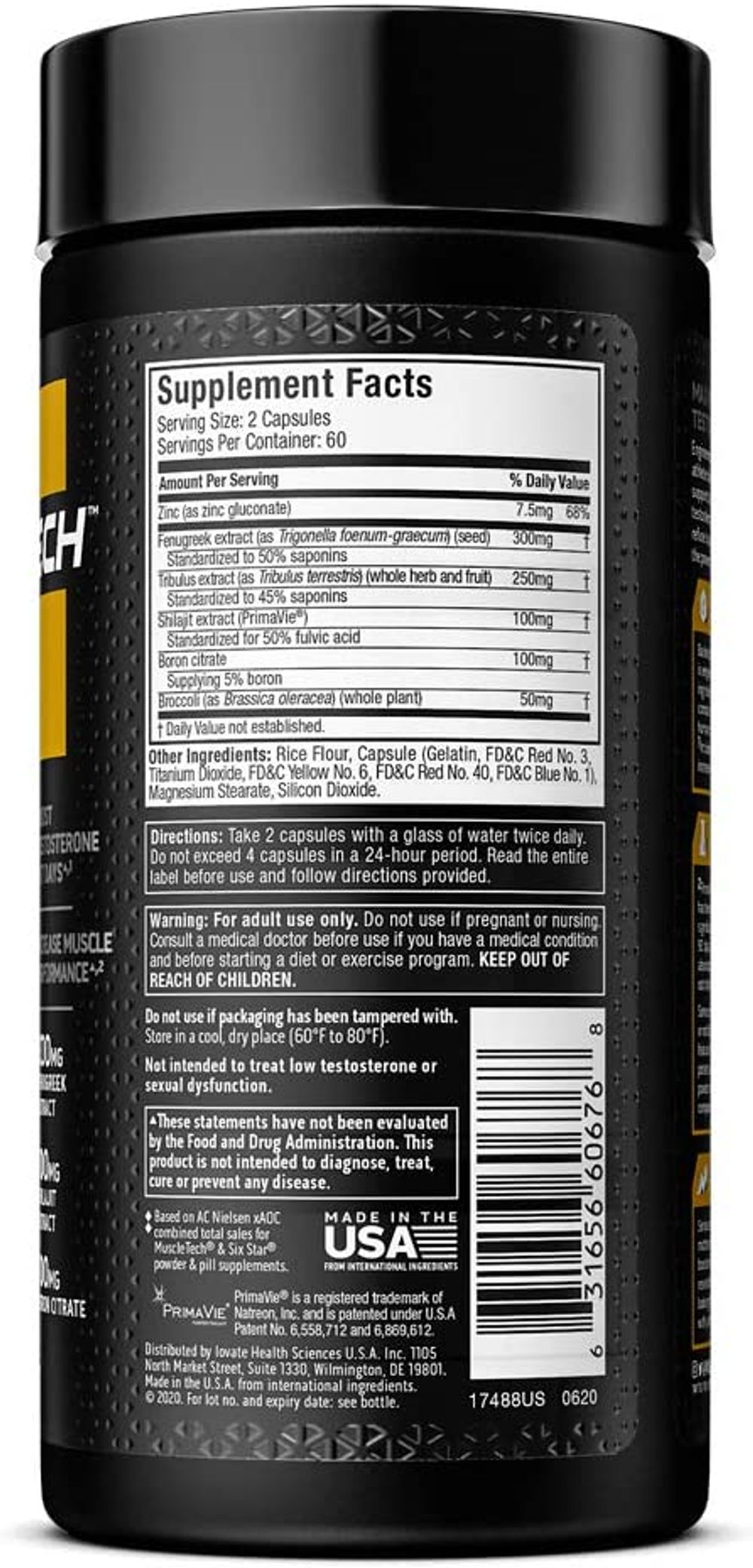 Testosterone Booster for Men | MuscleTech AlphaTest | Tribulus Terrestris & Boron Supplement | Max-Strength ATP & Test Booster | Daily Workout Supplements for Men, 120 Pills (Package May Vary)