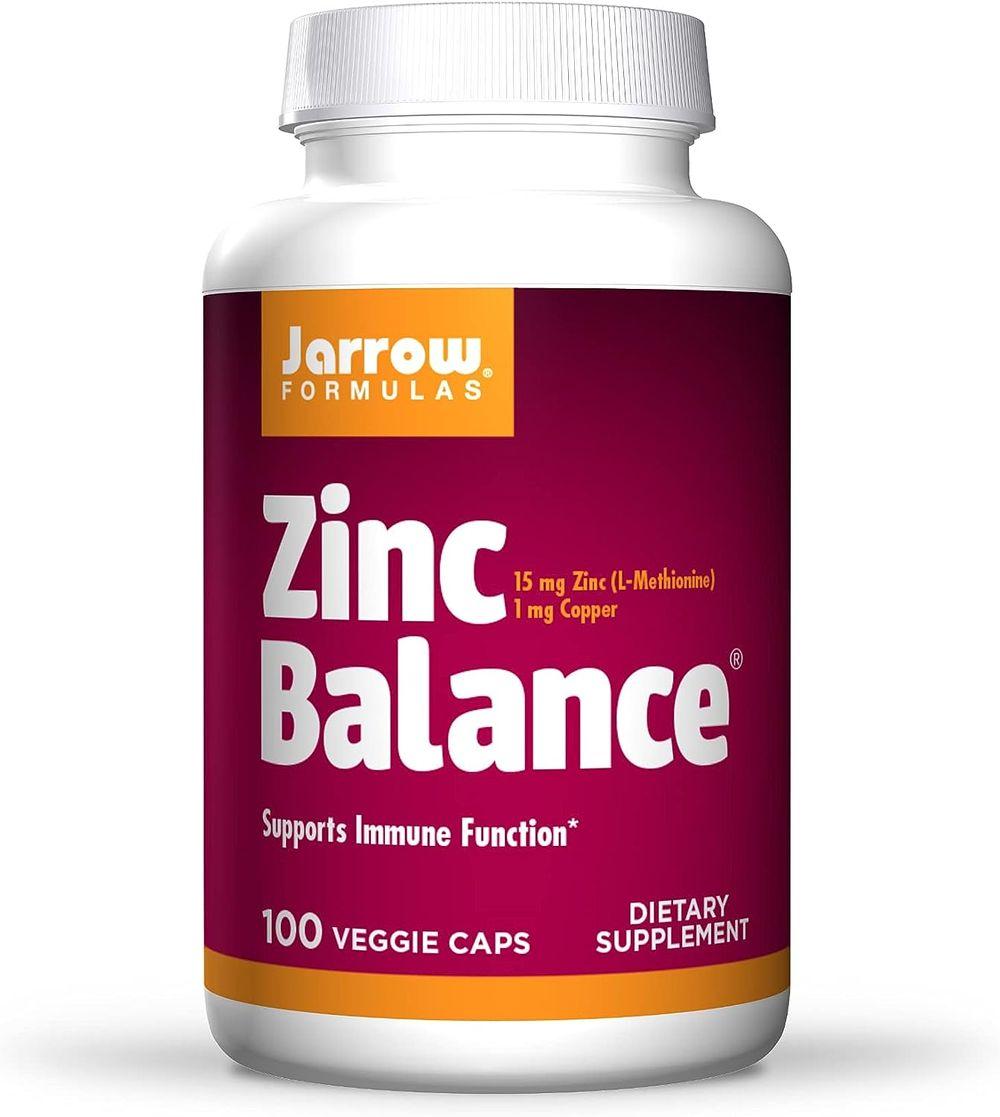 Jarrow Formulas Zinc Balance 15 mg - 100 Veggie Caps - Immune Support - Includes Copper - 100 Servings