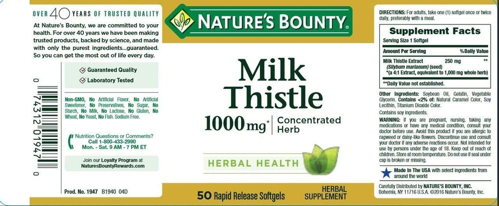 Nature's Bounty Milk Thistle, Herbal Health Supplement, Supports Liver Health, 1000 mg, 50 softgels
