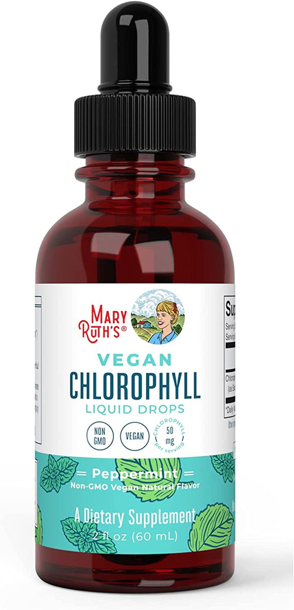 Organic Chlorophyll Liquid Drops by MaryRuth's   Vegan Liquid Chlorophyll   Energy Supplement Natural Deodorant Liver Function Immune Support   Non GMO, Peppermint   50mg per Serving, 30 Servings