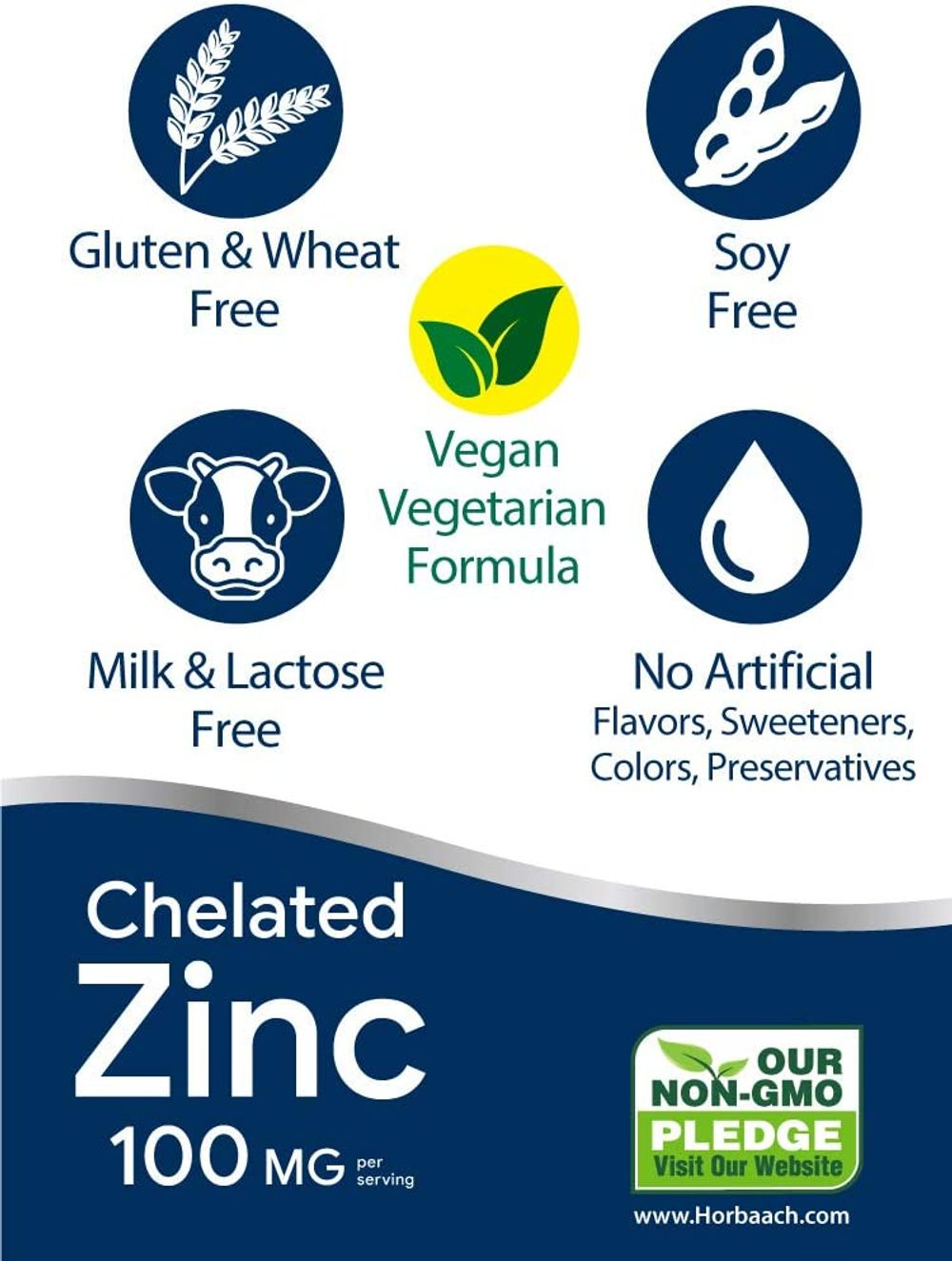 Chelated Zinc Supplement 100mg   250 Tablets   High Potency & Superior Absorption   Vegetarian, Non-GMO, Gluten Free   by Horbaach