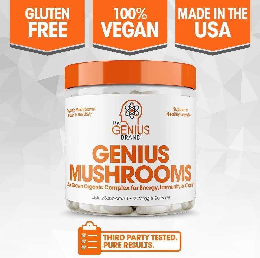 Genius Mushroom – Lions Mane, Cordyceps and Reishi – Immune System Booster & Nootropic Brain Supplement – Wellness Formula for Natural Energy, Stress Relief, Memory & Liver Support, 90 Veggie Pills