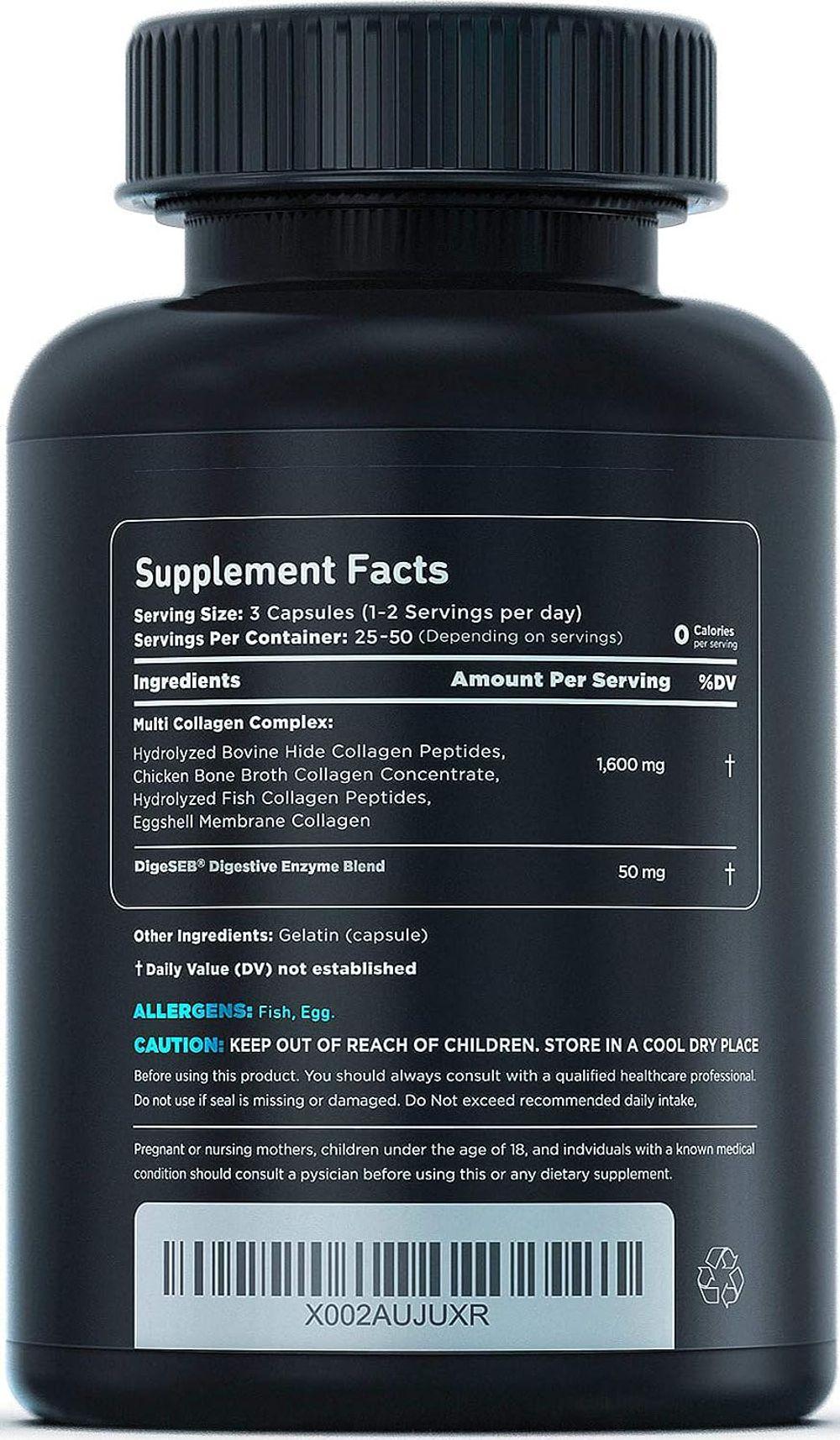 Vital Vitamins Multi Collagen Complex - Type I, II, III, V, X, Grass Fed, Non-GMO, 150 Capsules
