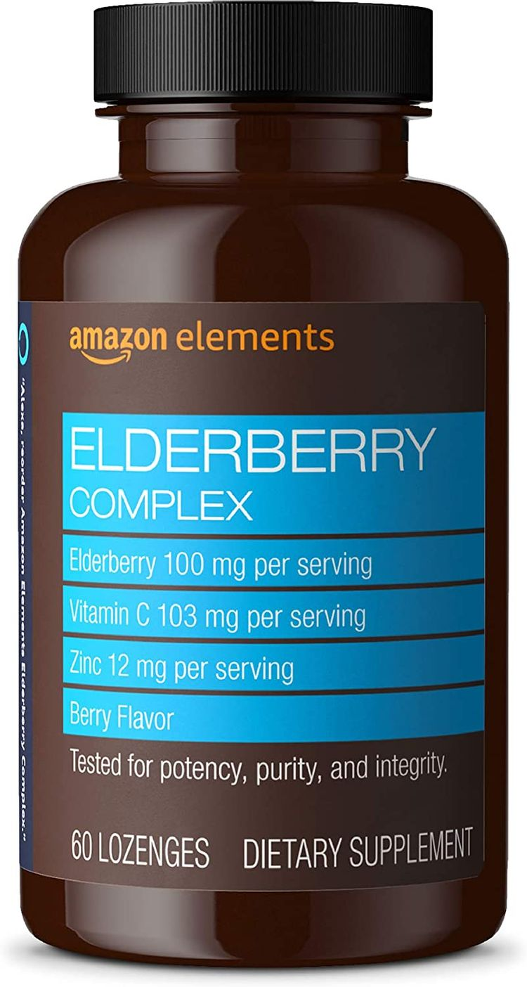 Elements Elderberry Complex, Immune System Support, 60 Berry Flavored Lozenges, Elderberry 100mg, Vitamin C 103mg, Zinc 12mg per Serving (Packaging may vary)