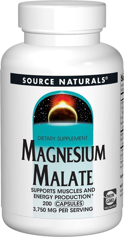 Source Naturals Magnesium Malate - 3750 mg Per Serving - Essential Magnesium Malic Acid Supplement - 200 Capsules