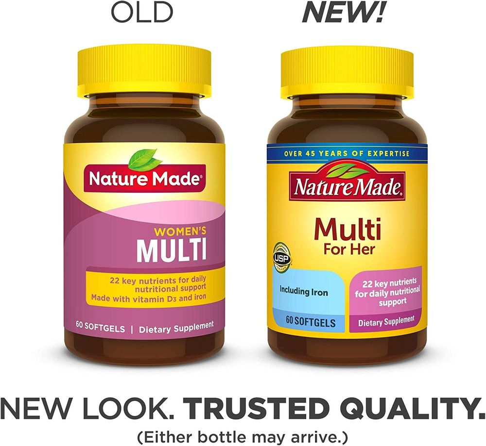 Nature Made Women's Multivitamin Softgels with Vitamin D3 and Iron, 60 Count (Packaging May Vary)