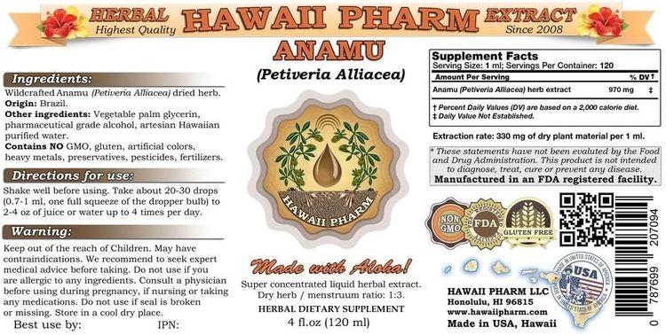 Anamu Liquid Extract, Anamu (Petiveria Alliacea) Herb Powder Tincture Supplement 2 oz