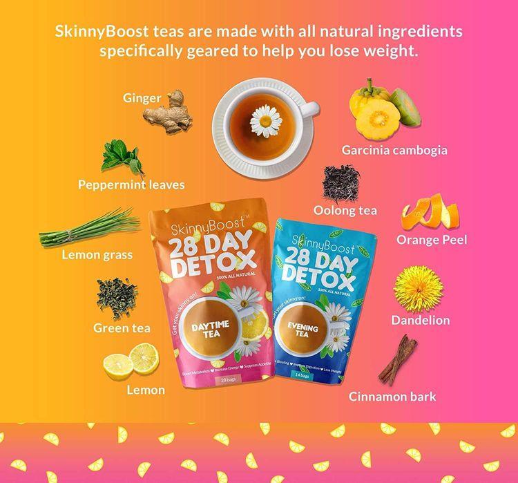 Skinny Boost 28 Day Detox Tea Kit-1 Daytime Tea (28 Bags) 1 Evening Detox Tea (14 Bags) Non GMO, Vegan, All Natural (Lemon Honey)