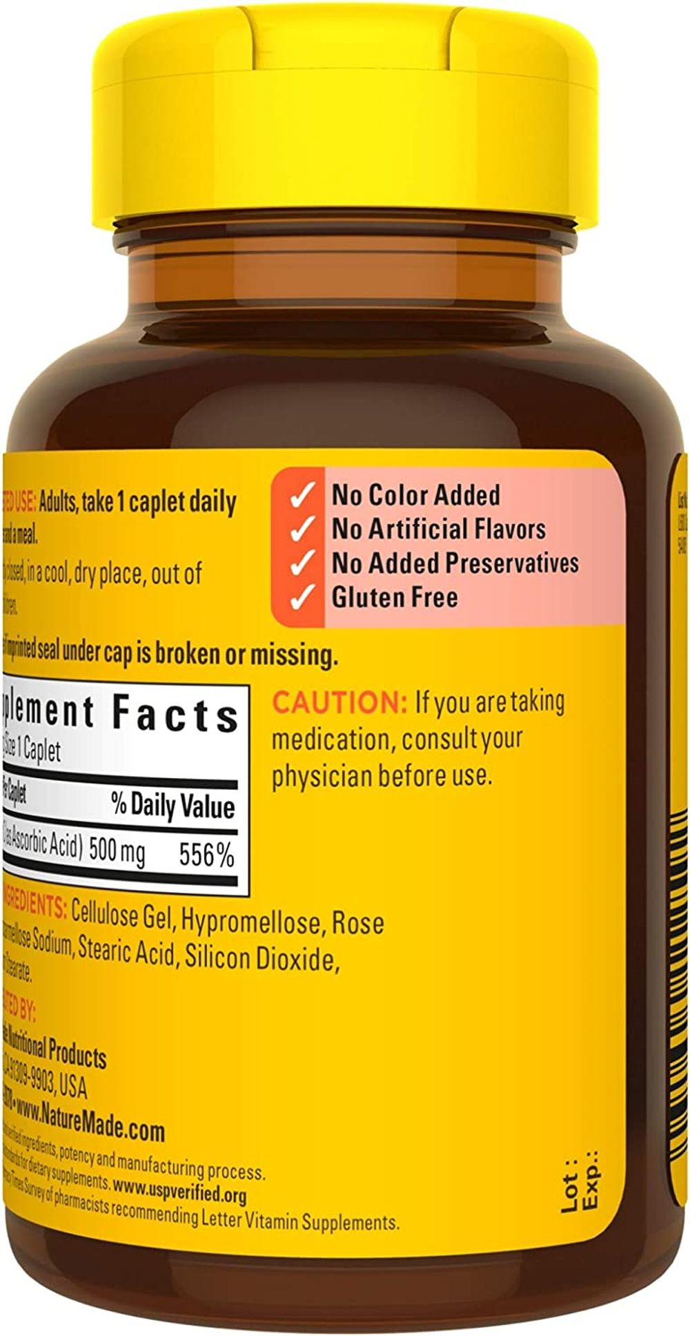 Nature Made Vitamin C 500 mg with Rose Hips, Dietary Supplement for Immune Support, 130 Caplets, 130 Day Supply