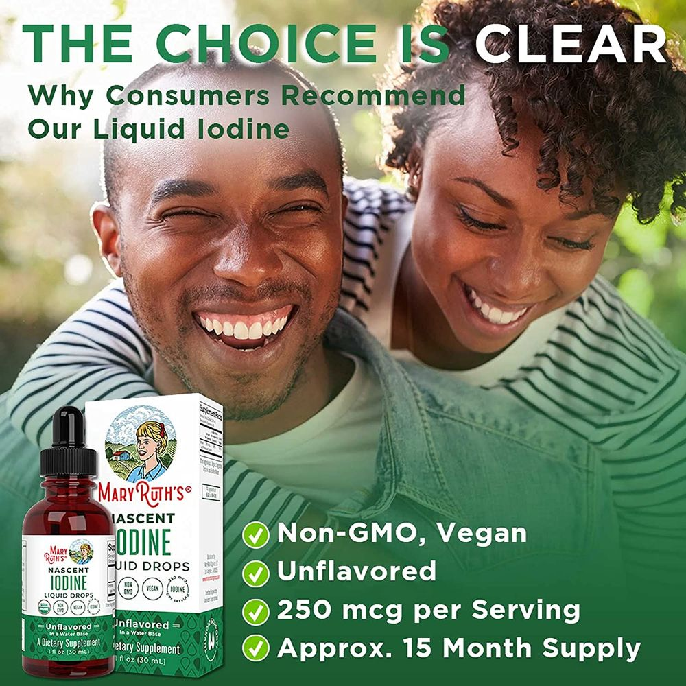 (1 Year Supply) USDA Organic Iodine Drops by MaryRuth's | Nascent Liquid Iodine Drops Solution | Pure, Clear Iodine | Promotes Optimal Thyroid Health | Hormone and Weight Support | 450 Servings