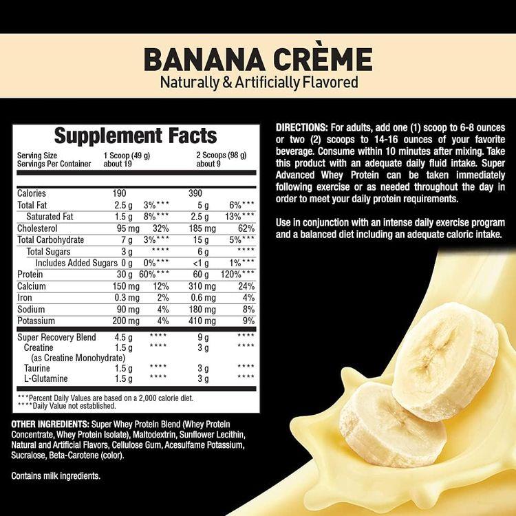 Body Fortress Super Advanced Whey Protein Powder, Gluten Free, Banana Cream, 2 Pound