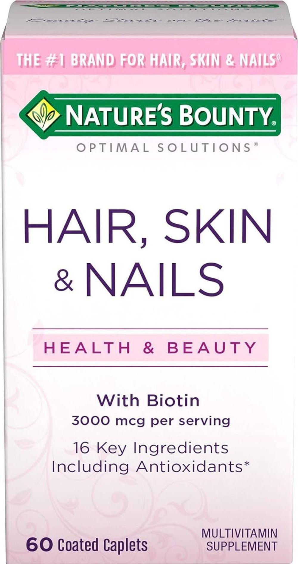 Nature's Bounty Optimal Solutions Hair, Skin & Nails Formula, 60 Coated Caplets