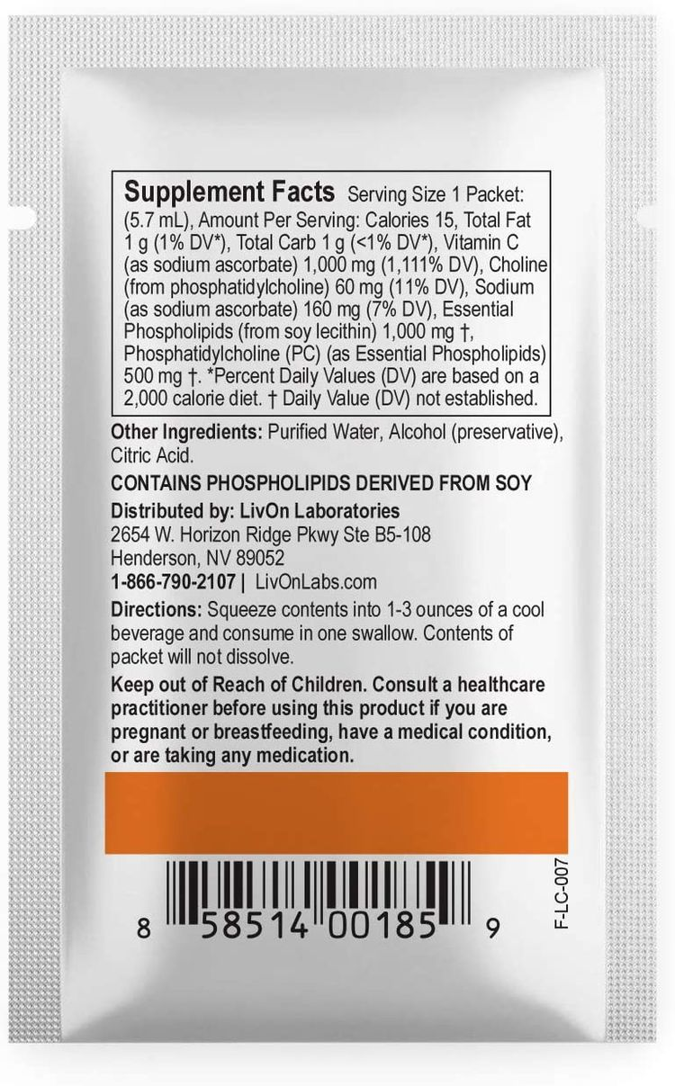 Lypo–Spheric Vitamin C – 1,000 mg Vitamin C & 1,000 mg Essential Phospholipids Per Packet – Liposome Encapsulated for Improved Absorption – 100% Non–GMO, 1 Carton, 0.2 Fl Oz (Pack of 30)