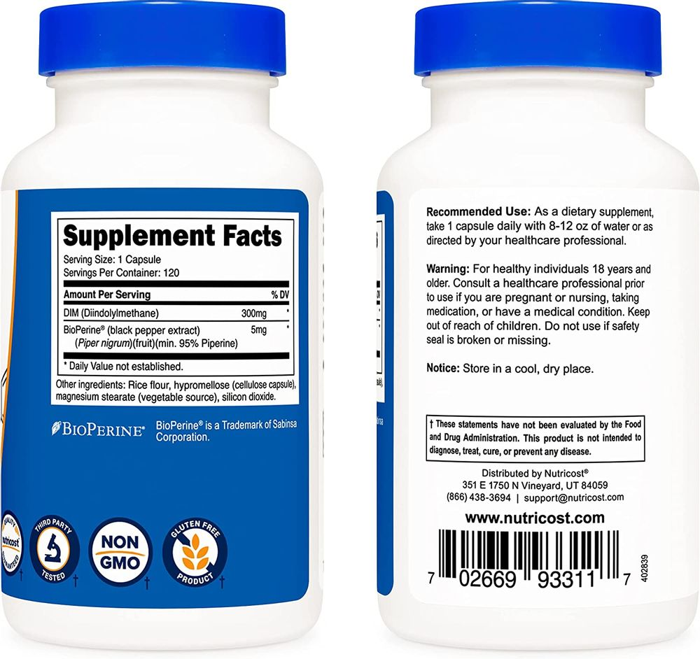 Nutricost DIM (Diindolylmethane) Plus BioPerine 300mg, 120 Vegetarian Capsules - Up to 4 Month Supply, Max Strength DIM Supplement…