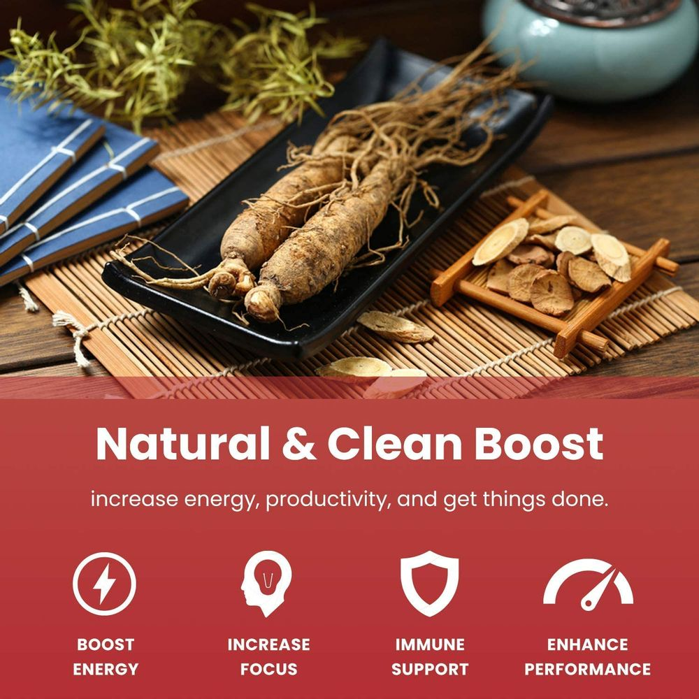 NutraChamps Korean Red Panax Ginseng 1650mg - 120 Vegan Capsules Extra Strength Root Extract Powder Supplement w/ High Ginsenosides for Energy, Performance & Focus Pills for Men & Women