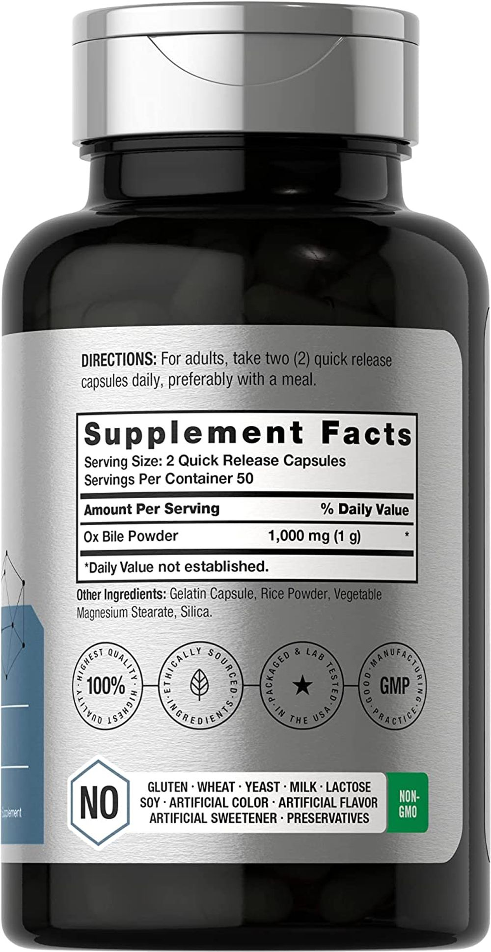 Horbaach Ox Bile 1000 mg 100 Capsules   Non-GMO & Gluten Free   Digestive Enzymes Supplement, Purified Bile Salts for Gallbladder
