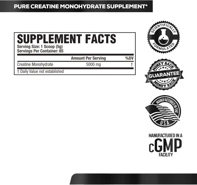 Creatine Monohydrate Powder 5g - Premium Creatine Supplement for Muscle Growth, Increased Strength, Enhanced Energy Output and Improved Athletic Performance - 85 Servings, Unflavored
