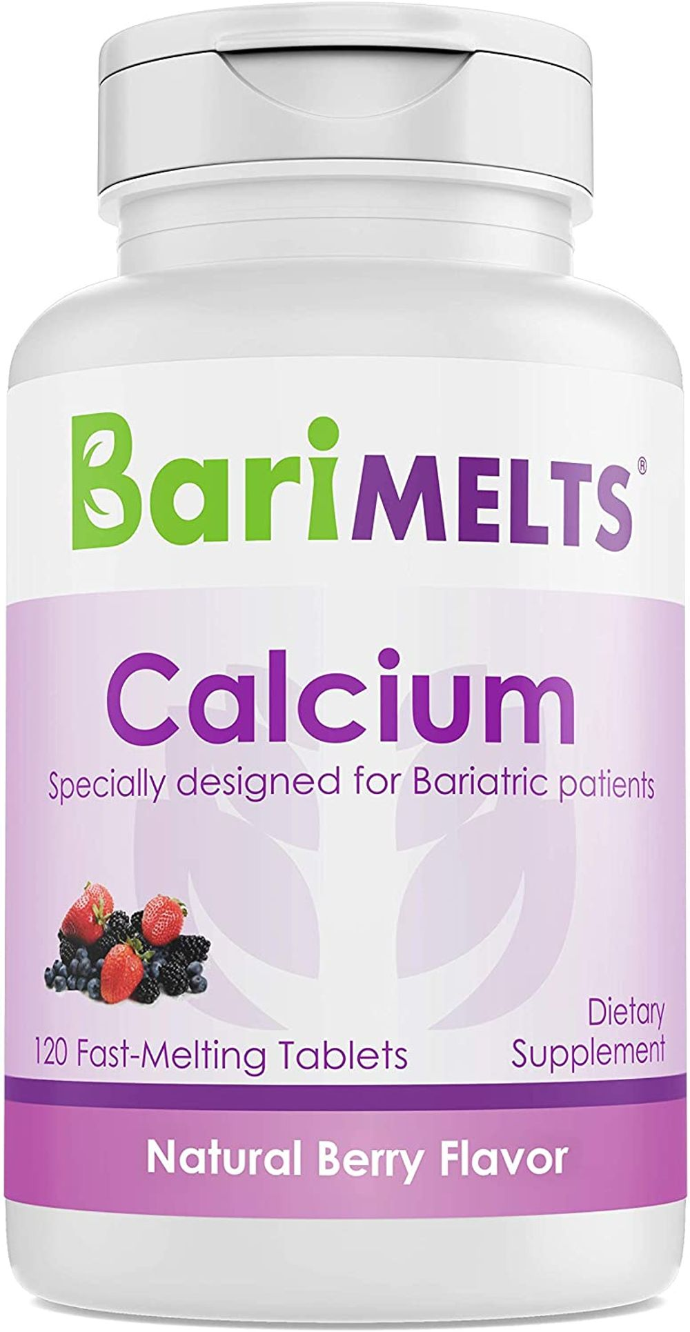 BariMelts Calcium Citrate, Dissolvable Bariatric Vitamins, Natural Berry Flavor, 120 Fast Melting Tablets