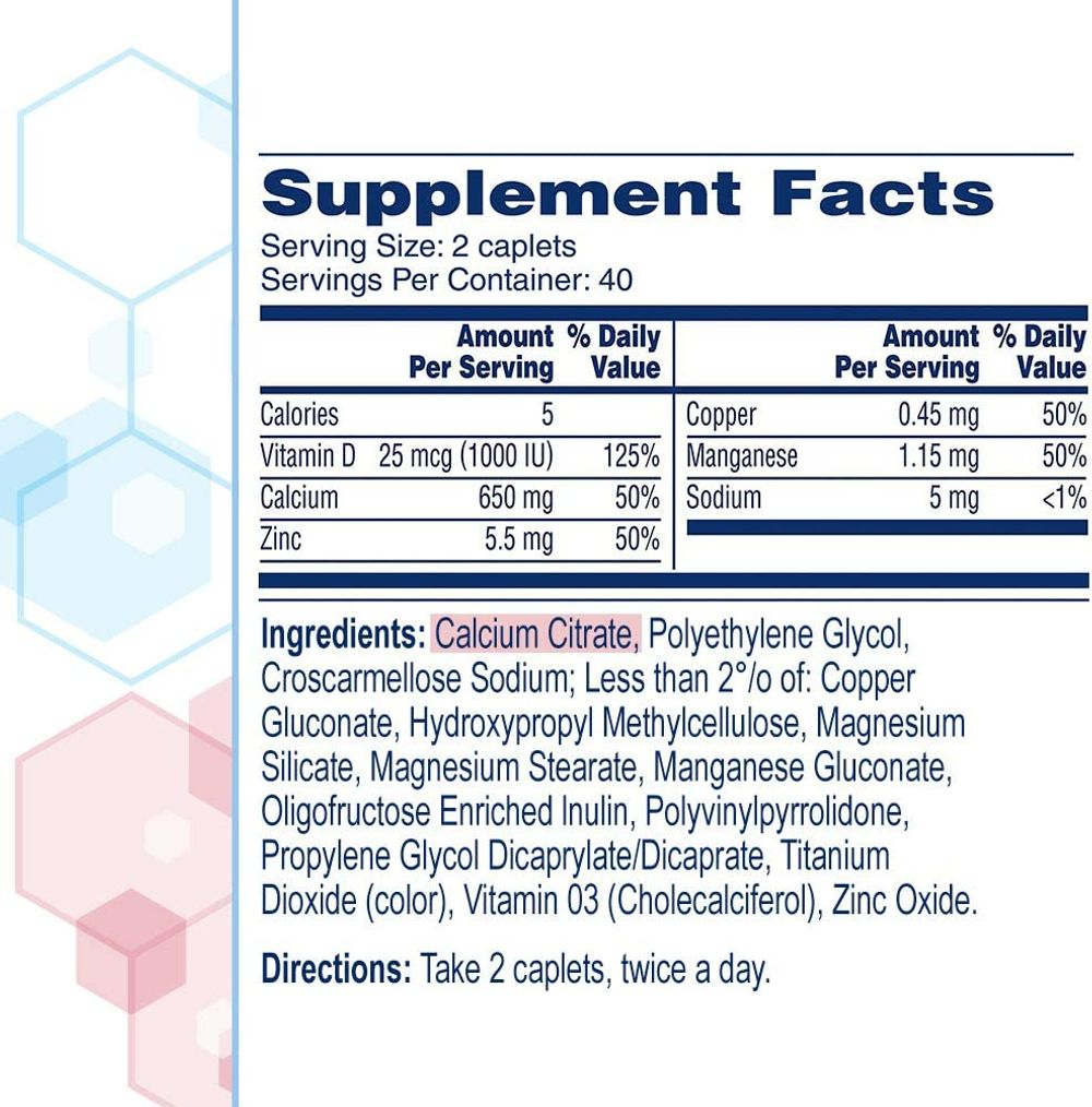 Citracal Maximum Plus Highly Soluble, Easily Digested, 630 mg Calcium Citrate With 1000 IU Vitamin D3, Bone Health Supplement for Adults, Caplets, 180 Count