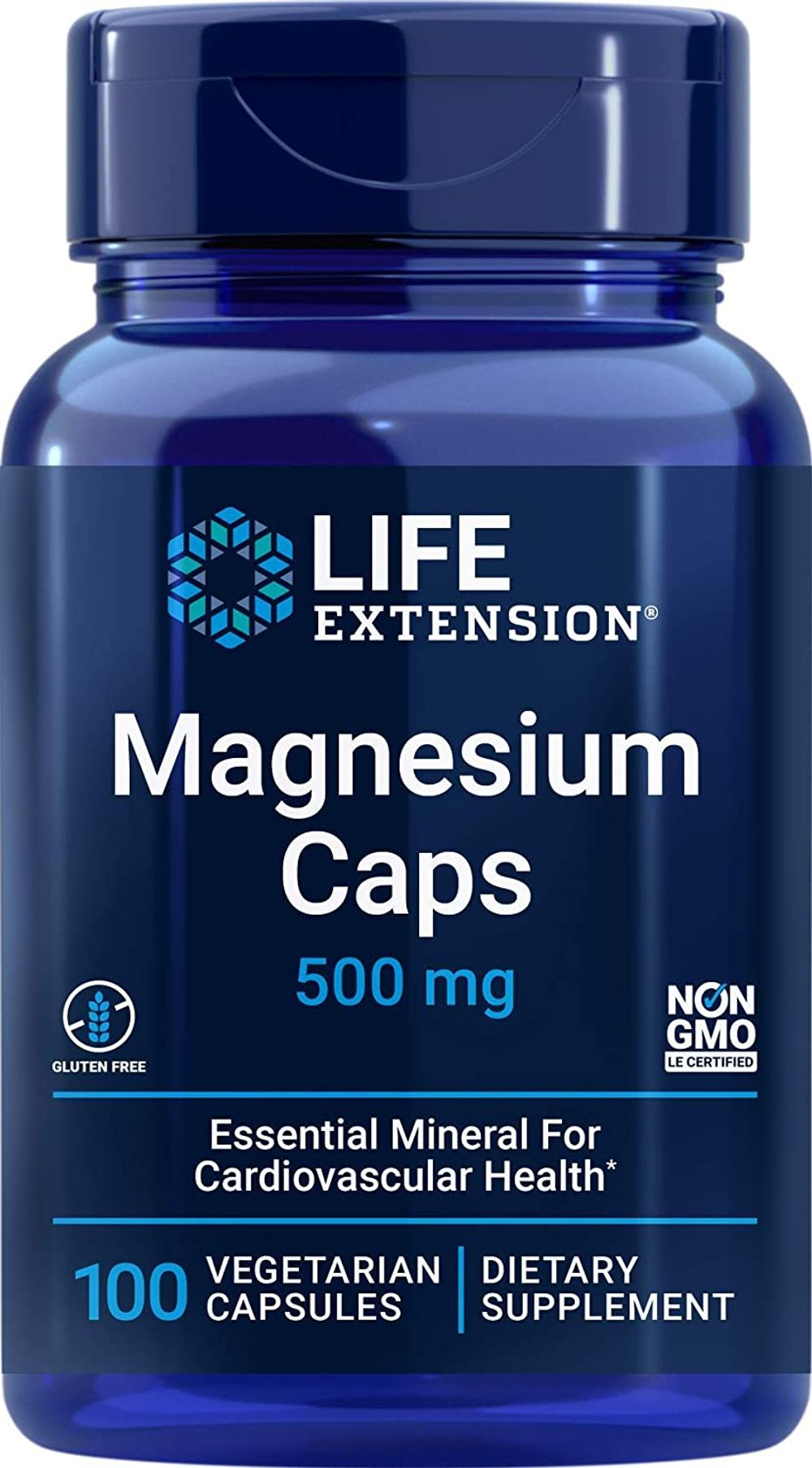 Life Extension Magnesium Caps 500 mg – Essential Mineral Blend For Cardiovascular & Whole-Body Health – Gluten-Free, Non-GMO, Vegetarian -100 Vegetarian Capsules