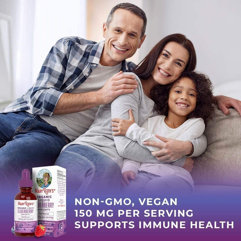 Organic Elderberry Syrup Black Sambucus Liquid Drops by MaryRuth's for Immune Support   Flavored with Raspberry & Blueberry for Health & Wellness   Vegan, Non-GMO & Gluten Free   30 Servings